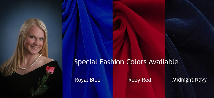 Royal Blue, Ruby Red, and Midnight Navy